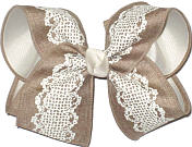 Lace Print on Canvas Khaki Ribbon over Light Ivory Large Double Layer Bow