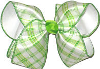 Green and White Check over White Large Double Layer Bow