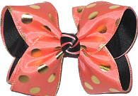 3 Layer Coral with Metallic Gold Dots over Coral and Black Large Double Layer Bow