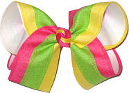 Shocking Pink Green and Yellow Stripes over White Large Double Layer Bow