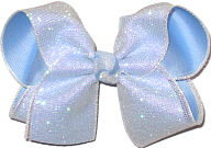 Pearly Glitter Mesh over Millenium Blue Large Double Layer Bow