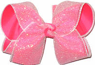 Pearly Glitter Mesh over Tutti Fruiti Large Double Layer Bow
