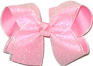 Pearly Glitter Mesh over Light Pink Large Double Layer Bow
