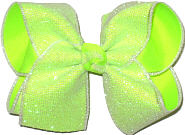 Pearly Glitter Mesh over Neon Lime Large Double Layer Bow