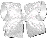 Pearly Glitter Mesh over White Large Double Layer Bow