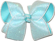 Light Aqua Glitter over White Large Double Layer Bow