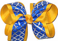 Century Blue and Silver over Yellow Gold Large Double Layer Bow