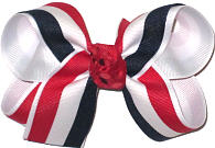 Red White and Nave Stripes over White Medium Double Layer Bow
