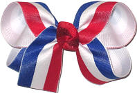 Red White and Blue Stripes over White Medium Double Layer Bow