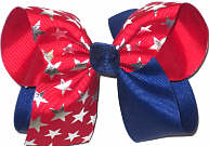 Blue and Red with Silver Stars Large Double Layer Bow