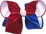 Red and Blue Glitter over White Large Double Layer Bow