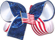Blue Glitter with Red and White Stripes with USA Flag Pin Medium Double Layer Bow