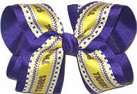 Large Purple and Gold Tigers over Purple Double Layer Overlay Bow