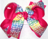Rainbow Peace Sign over Shocking Pink Large Double Layer Bow