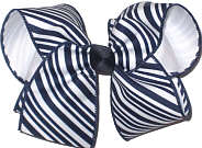 Large Navy and White Diagonal Stripes over White Double Layer Overlay Bow