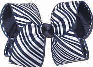 Large Navy and White Diagonal Stripes over Navy Double Layer Overlay Bow