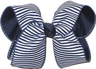 Large Navy and White Stripes over Navy Double Layer Overlay Bow