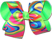 Large Multicolor over Neon Green Double Layer Overlay Bow