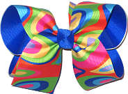 MEGA Multicolor over Electric Blue Double Layer Overlay Bow