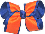 Large Orange and Century Blue Double Layer Overlay Bow