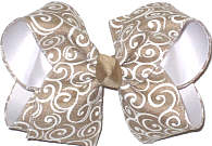 Large Khaki with White Swirls over White Double Layer Overlay Bow