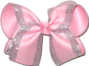 Large Light Pink with Silver Mesh Glittery Edging over Light Pink Double Layer Overlay Bow