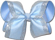 MEGA Millenium Blue with Silver Mesh Glittery Edging over Millenium Blue Double Layer Overlay Bow