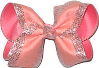 Large Light Coral with Silver Mesh Glittery Edging over Coral Double Layer Overlay Bow