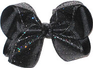 Large Black with Rainbow Sparkle over Black Double Layer Overlay Bow