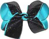Large Black with Rainbows Sparkle over Blue Lagoon Double Layer Overlay Bow