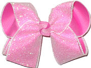 Large Raspberry Rose under Iridiscent Mesh Glitter Double Layer Overlay Bow