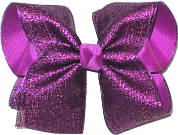 Large Purple Metallic Mesh over Royal Orchid Double Layer Overlay Bow