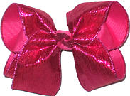 MEGA Shocking Pink Crinkle Lame over Shocking Pink Double Layer Overlay Bow