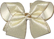 MEGA Platinum Metallic Mesh over Light Ivory Double Layer Overlay Bow