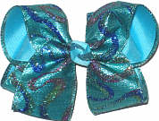 MEGA Glitter Swirl Lame over Mystic Blue Double Layer Overlay Bow