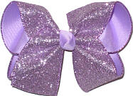 Large Light Orchid Glitter over Light Orchid Double Layer Overlay Bow