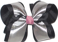 Large Silver Lame over Black with Pink Knot Double Layer Overlay Bow