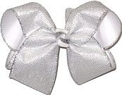 MEGA Silver Metallic Mesh over White Double Layer Overlay Bow