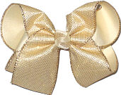 Large Gold Metallic Mesh over Creme Double Layer Overlay Bow