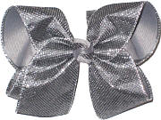 Large Pewter Metallic Mesh over Gray Double Layer Overlay Bow