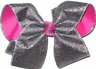 MEGA Pewter Metallic Mesh over Raspberry Rose Double Layer Overlay Bow