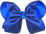 Large Century Blue Metallic Mesh over Electric Blue Double Layer Overlay Bow