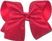 Large Red Metallic Mesh over Red Double Layer Overlay Bow