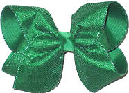 MEGA Emerald Metallic Mesh over Emerald Double Layer Overlay Bow
