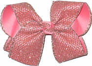 Large Rose Gold Glitter Mesh over Coral Double Layer Overlay Bow