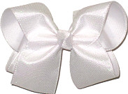 Large White Shimmering Mesh over White Double Layer Overlay Bow