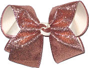 Large Rose Pink Glitter over Light Ivory Double Layer Overlay Bow