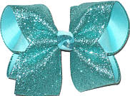 MEGA Aqua Glitter over Aqua Double Layer Overlay Bow
