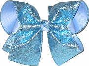 Large Blue Gliiter over Millenium Blue Double Layer Overlay Bow