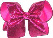 MEGA Raspberry Glitter over Raspberry Rose Double Layer Overlay Bow